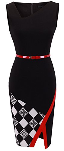 HOMEYEE Women's Elegant Patchwork Sheath Sleeveless Business Dress B290 (L, Black)