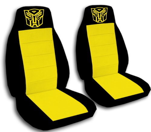2 Black and Yellow Robot seat covers with a Robot for a 2010 to 2015 Chevrolet Camaro. Side airbag friendly. (Chevrolet Robot compare prices)