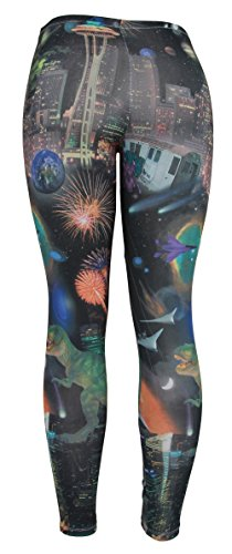 Dinosaurs Fireworks and Aliens Ladies Basic Leggings Shear Tights - Medium