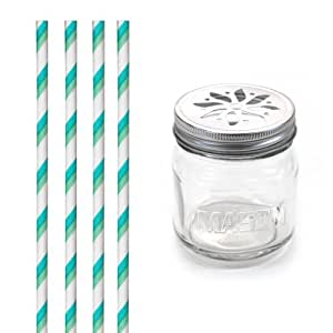 Dress My Cupcake DMC31343 Vintage Glass Drinking Mason Jar Sippers with Flower Lid and Paper Straws Party Kit, Aqua and Green Striped, Set of 12