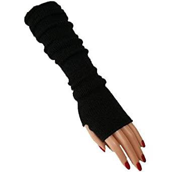 TIGHT FITTING CORDERED BLACK LONG ARM WARMERS W/THUMB