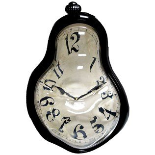 Black Plastic Melted Wall Clock