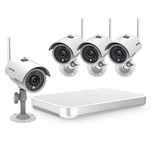 Zmodo 4CH NVR Wireless WiFi 720p HD Outdoor Indoor Smart Security Camera System 500GB Hard Drive