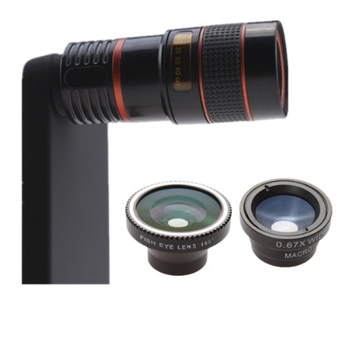 4 In 1 Camera Lens Kit (8X Telephoto+Fish Eye+Wide Angle+Macro) For Iphone 4S 4G