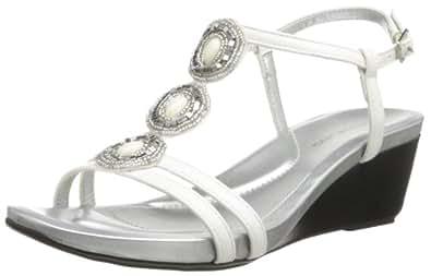 Bandolino Women's Hallett Dress Sandal,White Synthetic,8.5 M US
