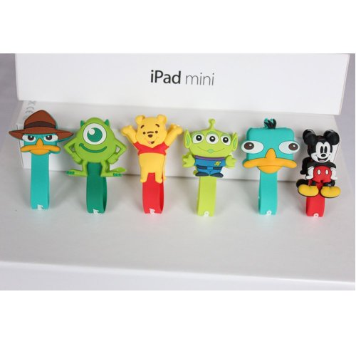 New Cute Monsters University Disney Cartoon Hello Kitty Cable Tie Cord Organizer Headset Headphone Earphone Wrap Winder/ Fixer Holder/Cord Manager/Cable Winder (6 Pcs Cable Winder Mickey& Duck&Alien&Bear&Duck2&Green Guy)