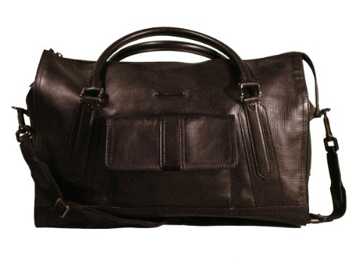 Authentic Burberry XL Holdall Black Leather Weekend Travel Bag