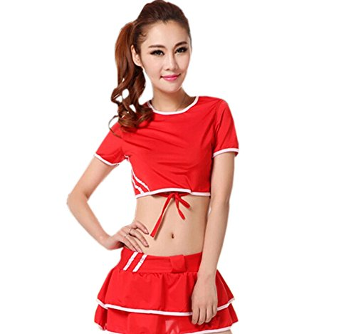Cheerleader Costume/ Cheerleading Uniform/ Athletic Clothing Size L (RED)