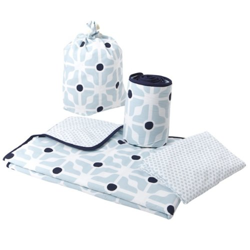 Olli Ella Cot Bed Linen Set with Half Bumper (Blue)