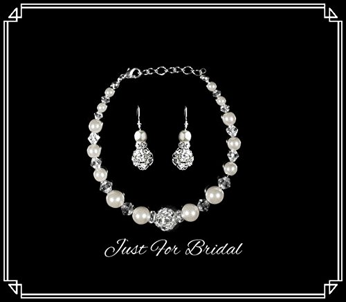 White Pearl & Crystal with Rhinestone Bracelet and Earring Set Bridesmaid Jewelry (Earrings And Bracelet Set)