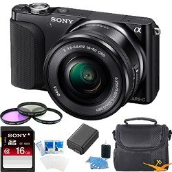 Sony NEX-3NL/B NEX-3N NEX3NL NEX3NLB Compact Interchangeable Lens Digital Camera Kit (Black) Essentials Bundle with 16GB SD Card, Spare Battery, Filter Kit, Padded Case + More