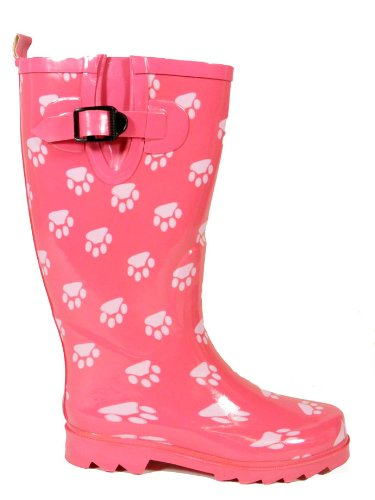New Womens Pink Paw Wellies