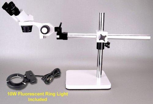 20X 40X Binocular Stereo Boom Microscope With Ring Light