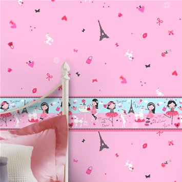 Coloroll Kids Mimi Oscar Border Wallpaper by Crown