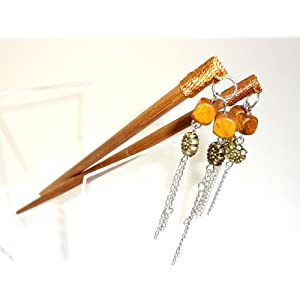 Designer Hair Chopsticks One Pair with Fancy Tassles