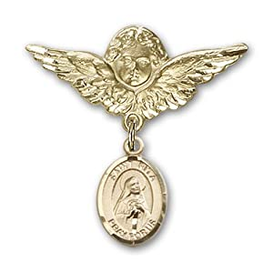 14K Gold Baby Badge with St. Rita Baseball Charm and Angel with Wings Badge Pin