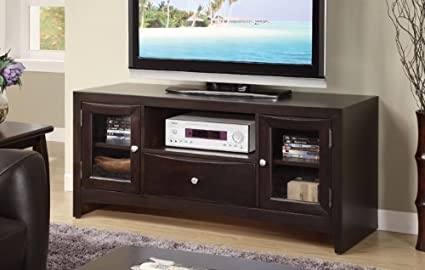 TV Stand with Two Cabinets and a Drawer in Espresso Finish