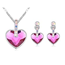 buy Around 101 Swarovski Elements Crystal Jewelry Set Necklace Austrian Crystal Earrings - You Are Always The Angel In My Heart (C3)