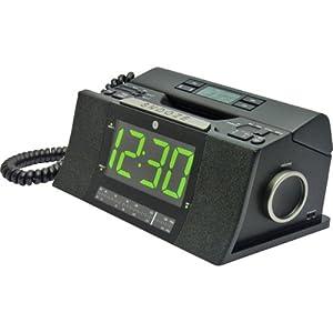 GE 29298FE1 Corded Bedroom Phone with CID/Radio/Alarm Clock (Black)