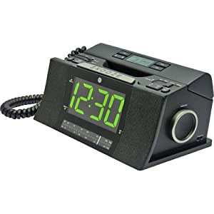 GE 29298FE1 Corded Bedroom Phone with CID/Radio/Alarm Clock (Black)