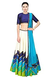 Fabron Ivory and shades of blue and green sequins embroidered lehenga set