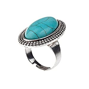 Stunning High Quality Anti Silver Coloured Metal Finger Ring In Oval Shape With Turquoise Inlaid Stone Gem By VAGA©
