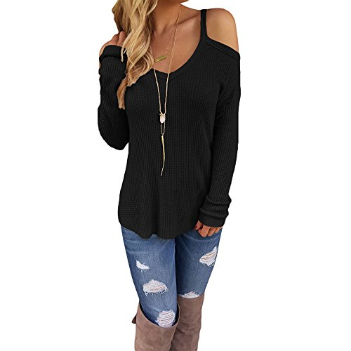 Eiffel Women's Cold Shoulder Knit Long Sleeves Pullover Sweater Tops Blouse Tunic Black