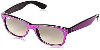 Ray-Ban RB2132 New Wayfarer  Sunglasses, Black Rubber Frame/Green Lens, 55 mm