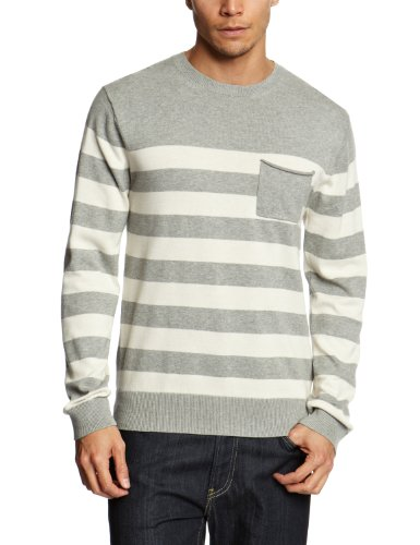 French Connection Black And White Men's Jumper Grey Melange/Salt Large