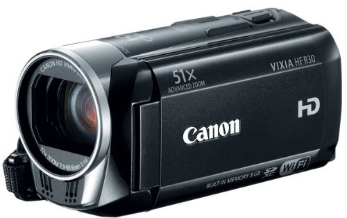 Canon 5976B002 VIXIA HF R30 Full HD 51x Image Stabilized Optical Zoom Camcorder Wi-Fi Enabled with 8GB Internal Drive Dual SDXC Card Slots and 3.0 Touch LCD (Black)