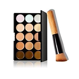 AwesomeMall 15 Colors Contour Face Cream Makeup Concealer Palette+Oblique Head Brush