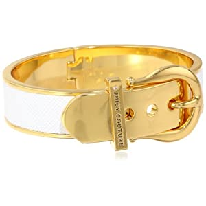 Juicy Couture White Wide Buckle Bangle Bracelet, 2.38
