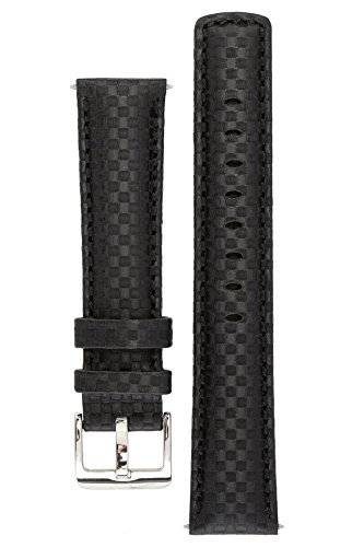 signature-carbon-black-22-mm-watch-band-replacement-watch-strap-genuine-leather-silver-buckle