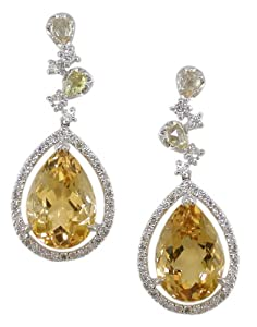 18KW Citrine and Diamond Earrings