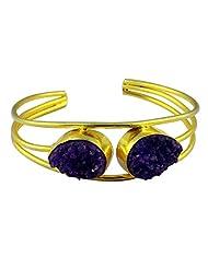 Gehna Mart Blue Druzy Stone Gold Finish Adjustable Cuff Bracelet