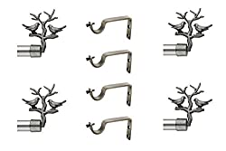 CME SOLID STAINLESS STEEL CURTAIN BRACKETS SET WITH DOUBLE POLE SUPPORT