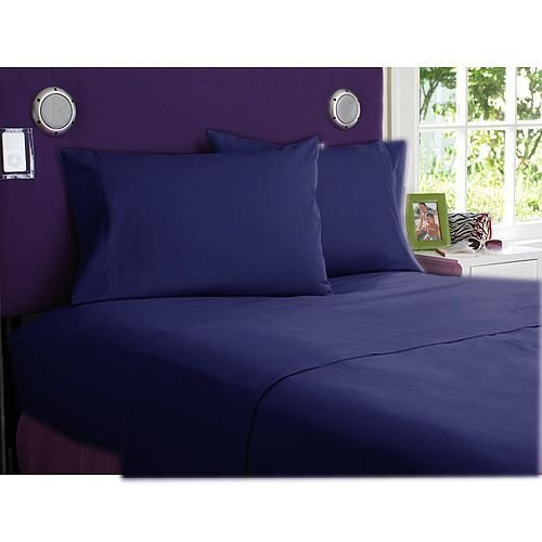 """800 Tc Solid 1 Pc Fitted Sheet Navy Blue Color King Size Fits Mattress Upto 26"""" Deep front-812551"""