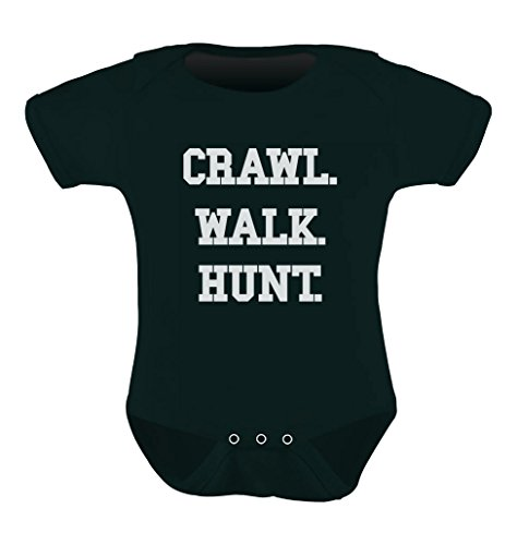 Teestars Unisex- Crawl Walk Hunt Baby Onesie 18 - 24 Months Black