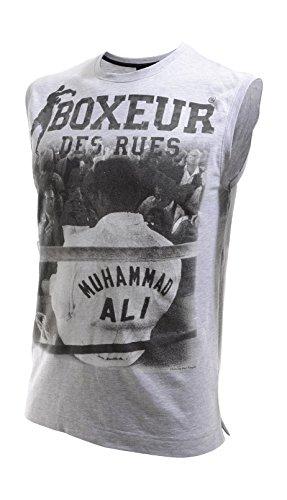 Boxeur Des Rues Fight Activewear Canotta Scollo Rotondo Muhammad Alì, Grey Mel, L