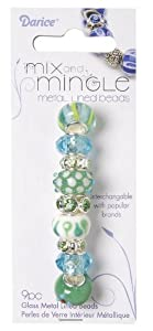Darice Mix and Mingle Glass Lined Metal Beads, Green and Blue