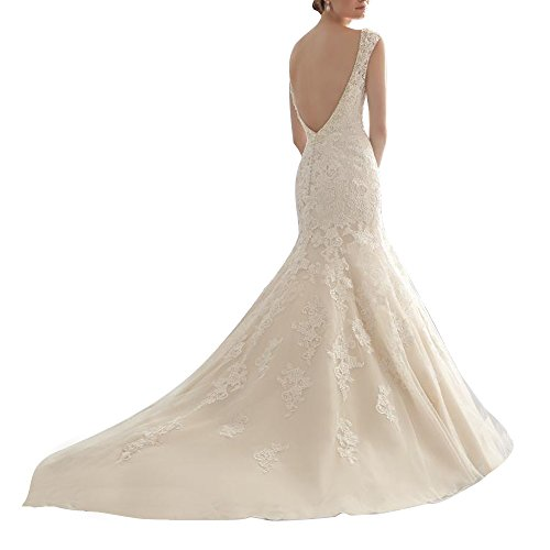 Generic women s mermaid open back lace applique ivory for I give it a year wedding dress
