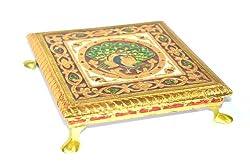 Rajasthan emporium and handicrafts Wooden Meenakri Chowki 12 inch
