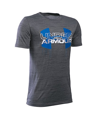 Under Armour Boys' Tech Big Logo Hybrid T-Shirt, Graphite (042), Youth Medium