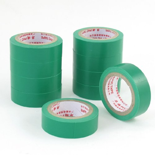 10 Pcs 8Mm Thickness Insulating Adhesive Electrical Tape 5M 16.4 Ft Green