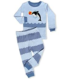 Leveret Boys Orca Killer Whale 2 Piece Pajama 100% Cotton (Size 12M-8 Years) (4 Years, Dolphin)
