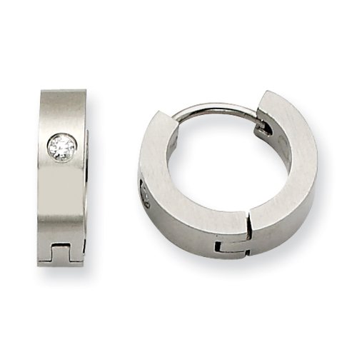 Stainless Steel CZ Brushed Hinged Hoop Earrings