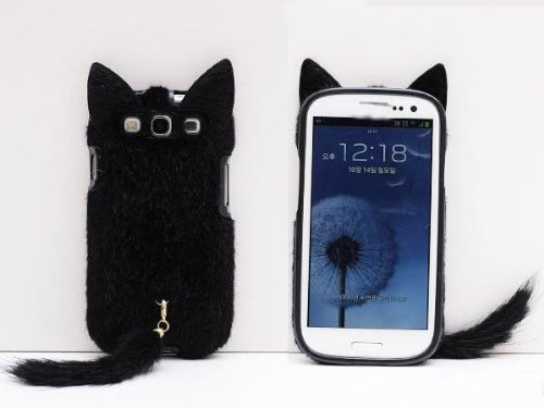 OOOUSE 3D Cute Fluffy Tail Cat TPU Case Cover Skin for Samsung Galaxy S3 i9300 Black