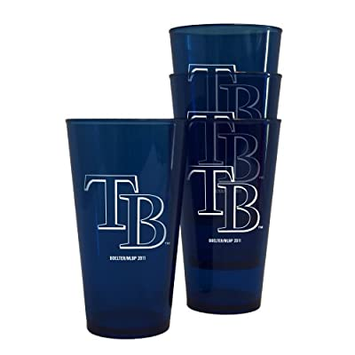 MLB Tampa Bay Devil Rays 16-Ounce Colored Plastic Pints (4 Pack)