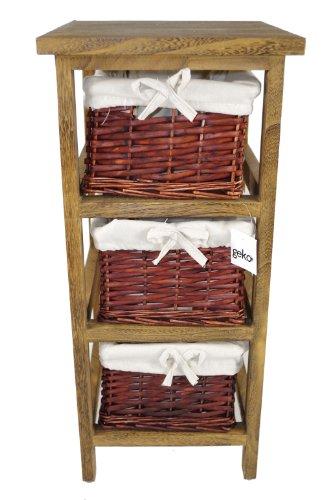 Geko 27 x 31 x 58 cm Layburn 3 tiroirs Armoire de rangement en bois avec osier dessiner ...