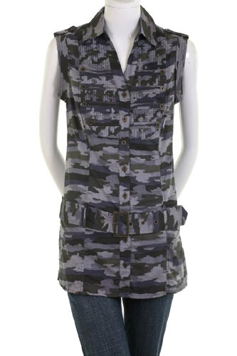 Elegant Gray Camo Camouflage Belted Shirt Dress